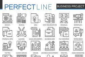 Business project concept line icons