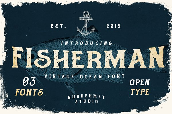 Display Fonts - Fisherman - Vintage Ocean Font