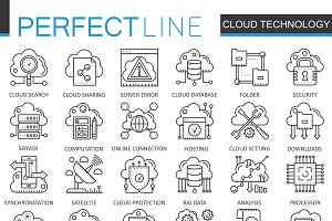 Cloud data technology concept icons