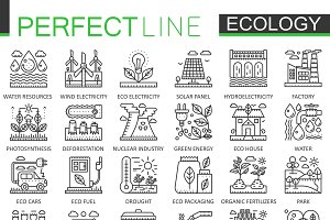 Ecology concept line icons
