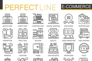 E-commerce, shopping concept icons