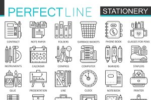 Office stationery concept line icons