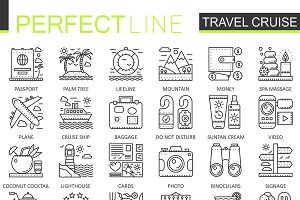 Travel cruise concept line icons
