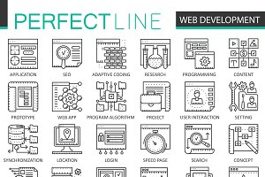 Web development concept line icons