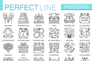 Wedding concept line icons
