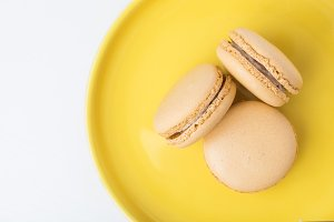 French Macarons Yellow Plate