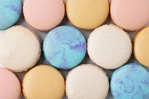 Variety of Colorful French Macarons