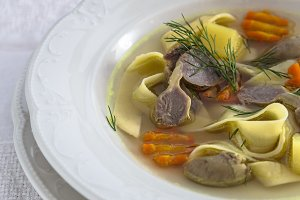 Chicken soup with noodles and