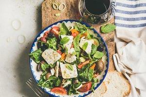 Greek salad with feta cheese, olive