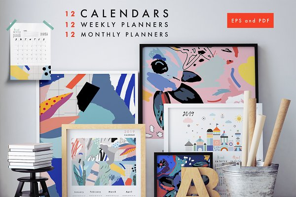 Stationery Templates: Lera Efremova - 2019 calendars + planners