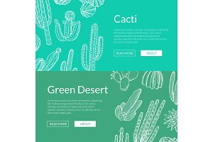 Vector hand drawn wild cacti plants