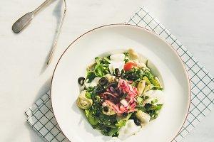 Fresh green summer salad with