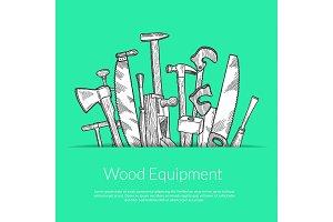 Vector hand drawn woodwork elements
