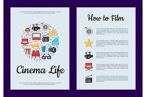 Vector flat cinema icons card or