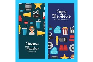 Vector flat cinema icons web banner