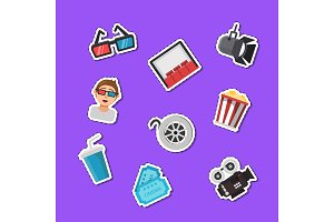 Vector flat cinema icons stickers