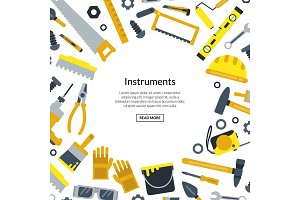 Vector flat construction tools with