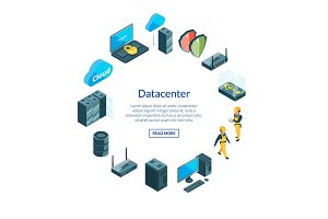 Vector system of data center icons i