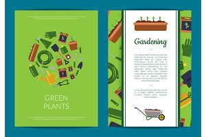 Vector flat gardening icons card or