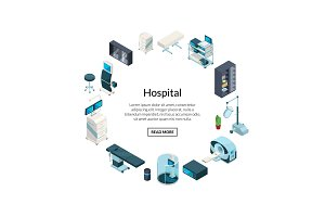 Vector isometric hospital icons in