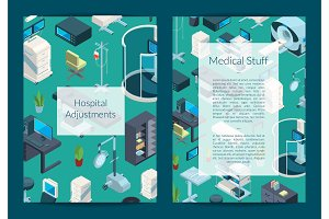 Vector isometric hospital icons card