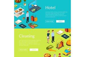 Vector isometric hotel icons web