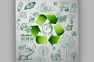 Recycle Symbol and Ecology icons
