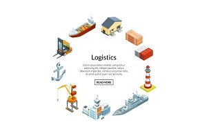 Vector isometric marine logistics