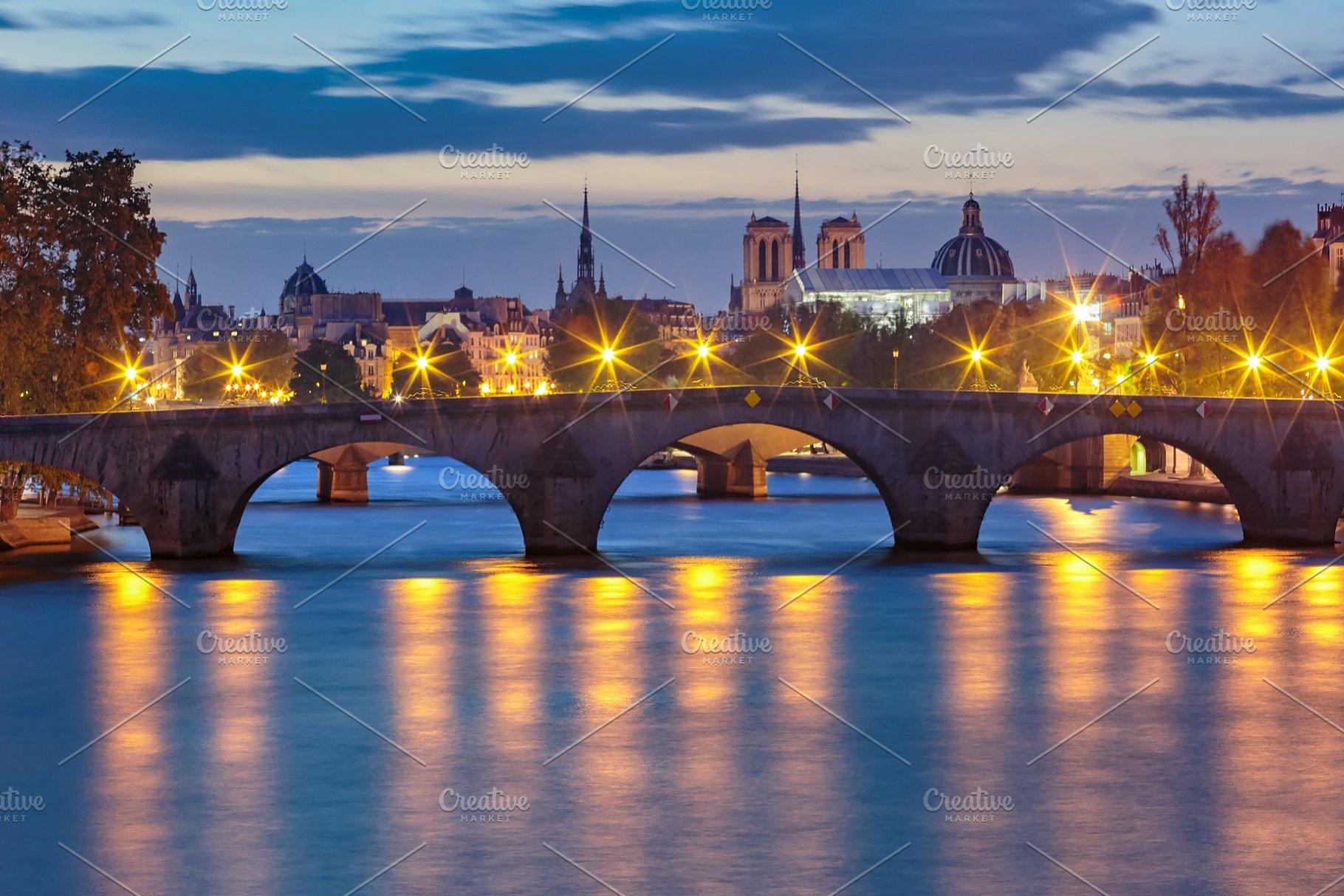 Night Seine And Pont Royal Paris