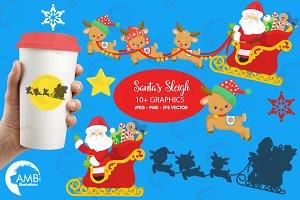 Santa Sleigh Clipart AMB-2294