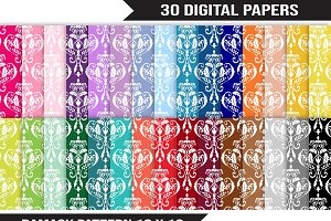 Damask Digital Paper Pack - Rainbow