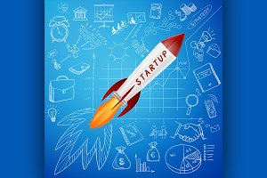 Startup concept, rocket and business