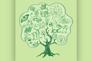 Tree formed by Ecology Icons.