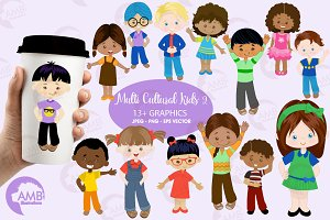 Multi Ethnic Kids Clipart AMB-2317