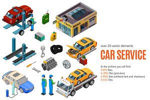 Isometric Car Service Set