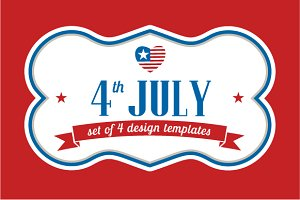 4th July, template designs, ribbons