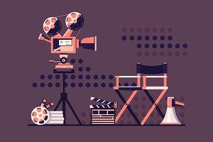Film set cinema with equipment