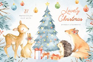 Lovely Christmas Watercolor Clip Art