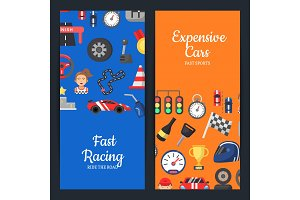 Vector flat car racing icons web