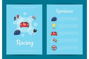 Vector flat car racing icons card or