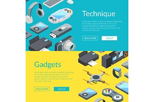 Vector isometric gadgets icons web