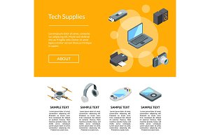 Vector isometric gadgets icons page