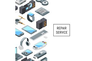 Vector gadgets icons with place for