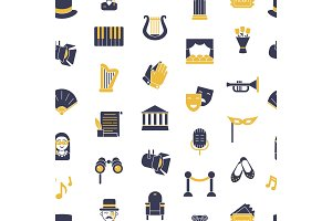 Vector flat theatre icons pattern or