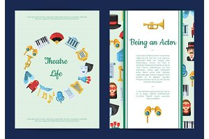 Vector flat theatre icons card or