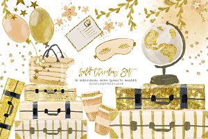 Gold Luggage Clipart set
