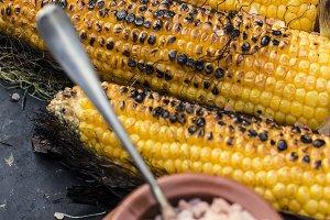 Roasted corn salted