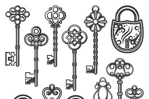 Vintage Ornamental Keys And Locks