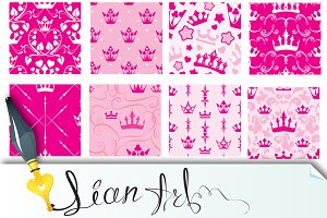 Princess crowns. Seamless patterns