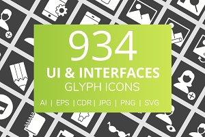 934 UI & Interfaces Glyph Icons